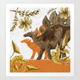 Jurassic Stegosaurus: Orange & Gold Art Print