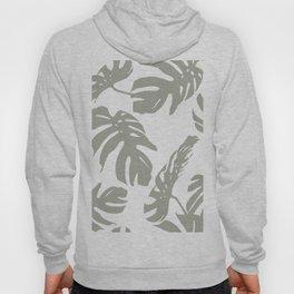 Simply Retro Gray Palm Leaves on White Hoody