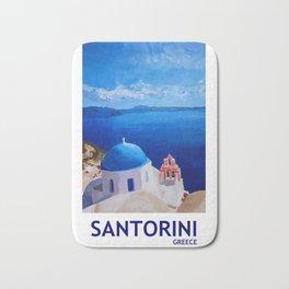 Santorini, Greece - View from Oia Retro Poster Bath Mat