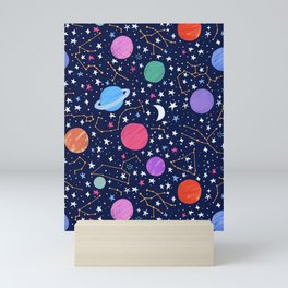 Astrology Zodiac Constellation in Midnight Blue Mini Art Print