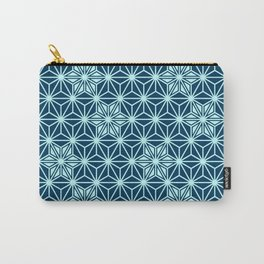 Japanese Asanoha or Star Pattern, Indigo Blue Carry-All Pouch