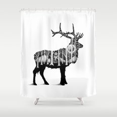 THE ELK AND THE OWL Shower Curtain