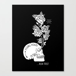 Young Heart...Run Free (Black) Canvas Print