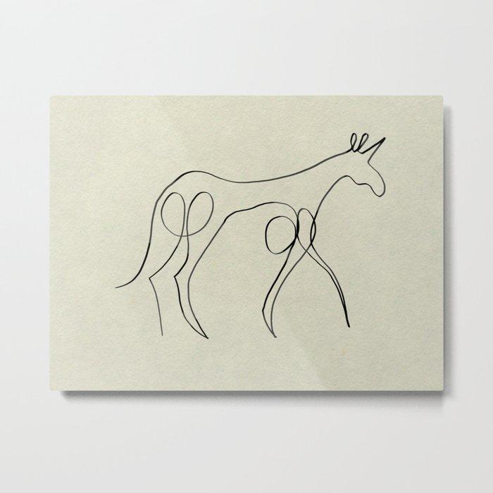 Continuous Line Unicorn Metal Print