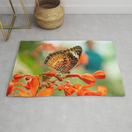 Leopard Lacewing Butterfly Rug