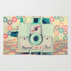Film Mint Camera on a Colourful Retro Background  Rug