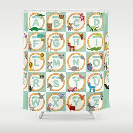ABC alphabet for kids from A to Z. Set of funny cartoon animals character. zoo Shower Curtain