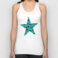 fez Tank Tops featuring Red Fez & Bow Tie (on teal green) by Bohemian Bear by Kristi Duggins
