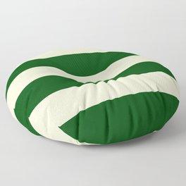 Dark Emerald Green and Cream Large Stripes Floor Pillow