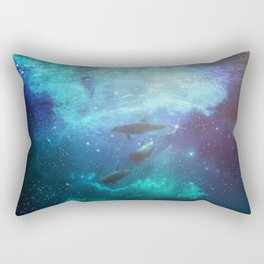 Mystic Dolphins Underwater Scenery Rectangular Pillow