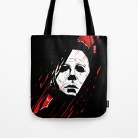 michael myers Tote Bags featuring Hell-O-Ween Myers knife by Akyanyme