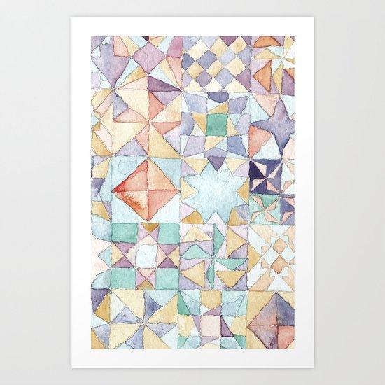 watercolour quilt Art Print