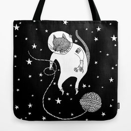 Space Cat Proves String Theory Exists Tote Bag