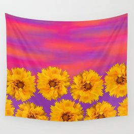 Yellow Floral Sunset Wall Tapestry