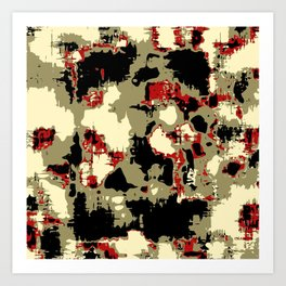 vintage psychedelic geometric painting texture abstract in red brown black Art Print