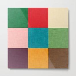 Cube pattern retro colors Metal Print
