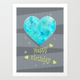 Birthstones October Blue Opal Heart Shaped Birthday Art Print