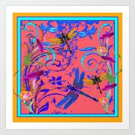 Decorative Abstract Blue Dragonflies Nature Landscape Art Print