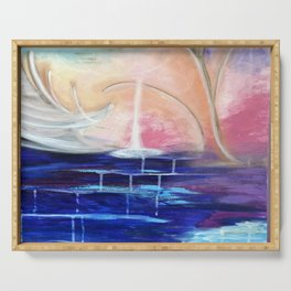 Flourescent Waterfall Painting. Waterfall, Abstract, Blue, Pink. Water. Jodilynpaintings. Serving Tray