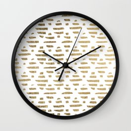 Chic faux gold foil modern brushstrokes pattern Wall Clock