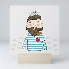 Lovely Bearded Sailor Man Illustration Mini Art Print