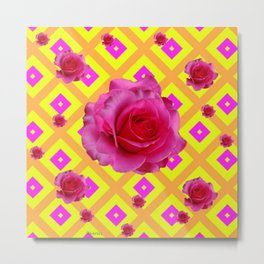FUCHSIA PINK GARDEN ROSES ON  PATTERNED YELLOW-AMBER Metal Print