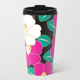 Japanese Style Camellia - Pink and Black Travel Mug
