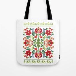 Hungarian Folk Design Red and Pink Tote Bag
