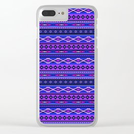 Modern Native Navajo Ethnic Tribal - Purple, Violet & Blue Colors Clear iPhone Case
