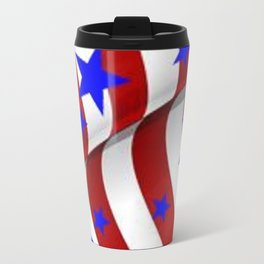 PATRIOTIC AMERICANA JULY 4TH BLUE STARS DECORATIVE ART Travel Mug