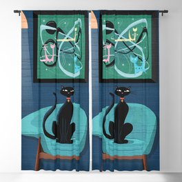 Creature Comforts Mid-Century Interior With Black Cat Blackout Curtain