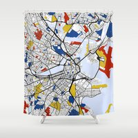 boston map Shower Curtains featuring Boston mondrian map by Mondrian Maps