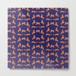 Cat Yoga Pattern Metal Print