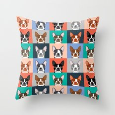 Boston Terriers tile pattern cute boston terrier puppies funny dog breed pet art gift for dog person Throw Pillow