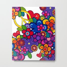 Peace, love and flowers clear Metal Print