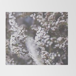 The Smallest White Flowers 01 Throw Blanket