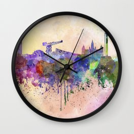 Glasgow skyline in watercolor background Wall Clock