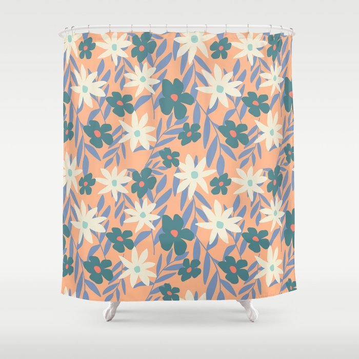 Just Peachy Floral Shower Curtain