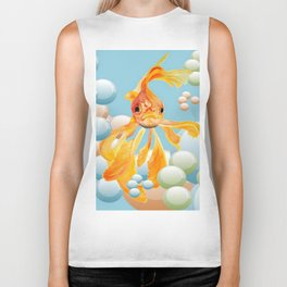 Vermillion Goldfish Blowing Bubbles Biker Tank