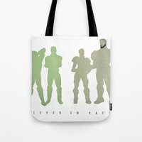 pacific rim Tote Bags featuring Pacific Rim: We Believed in Each Other by MNM Studios