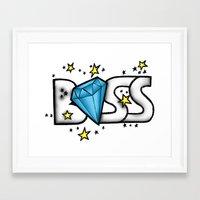 boss Framed Art Prints featuring Boss by DeMoose_Art