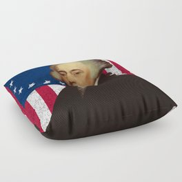 John Adams and The American Flag Floor Pillow