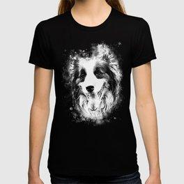 border collie shepherd dog splatter watercolor white T-shirt