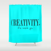 creativity Shower Curtains featuring CREATIVITY. by The LOL Project