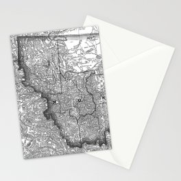 Vintage Map of Montana (1881) BW Stationery Cards