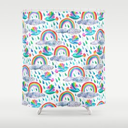 Spring Showers and Rainbow Birds on White Shower Curtain