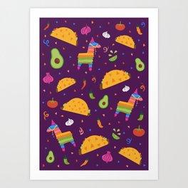 Taco Fiesta in Purple Art Print