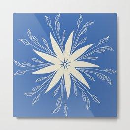 Floral on Blue Design Metal Print
