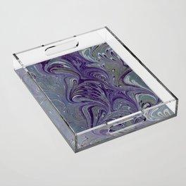 Purple, Blue, & Green Marbled Acrylic Tray