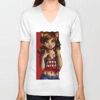 jessica lange V-neck T-shirts featuring Jessica by JupiterBlossem